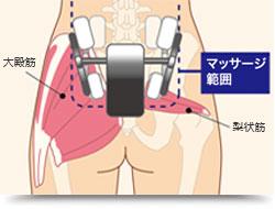 臀部のマッサージ範囲